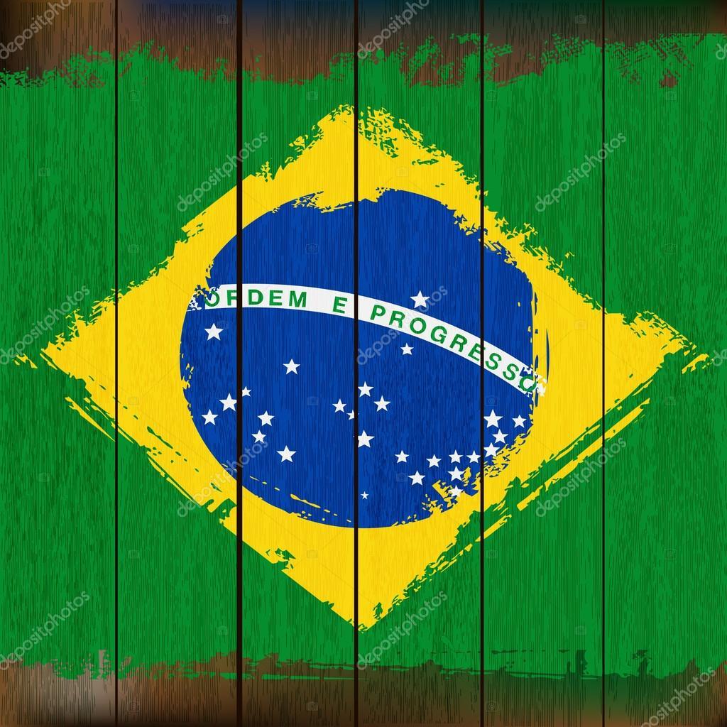 bandeira brasileira sobre um fundo de prancha de madeira — Vetor de  #073A98 1024x1024