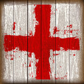 Grunged English Cross of Saint George Flag over wooden planks — Stock Vector