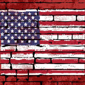 Grunged USA Flag over a brick wall — Stock Vector