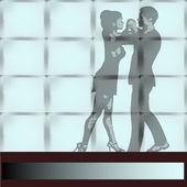 Dance Studio, a couple Ballrom Dancing seen through a large wall — Stock Vector