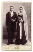 Antique 1895 Wedding Photo Bride in Black Dress & Groom — Stock Photo