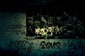Dark Grungy Alley With Graffiti Background — Stock Photo
