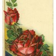 Red Roses Vintage Postcard — Stock Photo