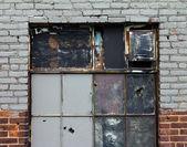 Old Broken Windows and Brick Wall — Stock Photo