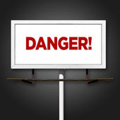 Gefahr billboard zeichen auf schwarzem hintergrund — Stockfoto