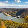 Bridge Over the Hudson River Valley in Fall — Stok fotoğraf