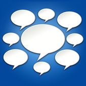 Chat Bubbles Conversation on Blue 3D Background — Stock Photo