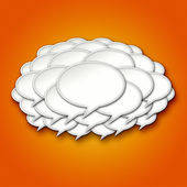 3d Chat Bubbles Storm Cloud on Orange Background — Stock Photo