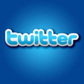 3D Twitter Sign on Blue Background — Stock Photo