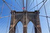 American Flag on the Brooklyn Bridge, New York City — Photo