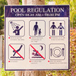 Stock Photo: Pool regulation plate.