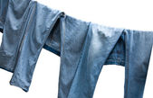 Jeans on a clothesline — Stock Photo