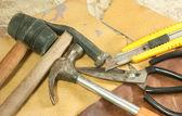 Leather and scissors — Stockfoto