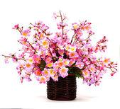 Kunstmatige bloem gemaakt van doek op witte achtergrond — Stockfoto