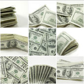Hundred dollar bill collage — Stock Photo