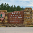 Entrance sign to Bryce Canyon National Park — Stock Photo