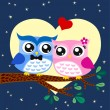 Owls couple in love at tree — Stock Vector #12628869
