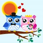 Owl bride and groom — Stock Vector