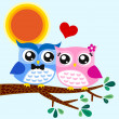Owls couple in love at tree — Stock Vector
