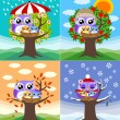 Owls in four seasons - 图库矢量图片