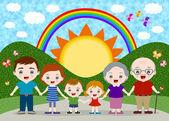 Happy big family — Stock Vector