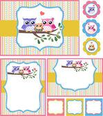 Owl baby shower invitation card set — Stock Vector
