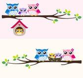 Happy owl family — Vettoriale Stock