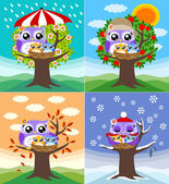 Owls in four seasons — Stock Vector