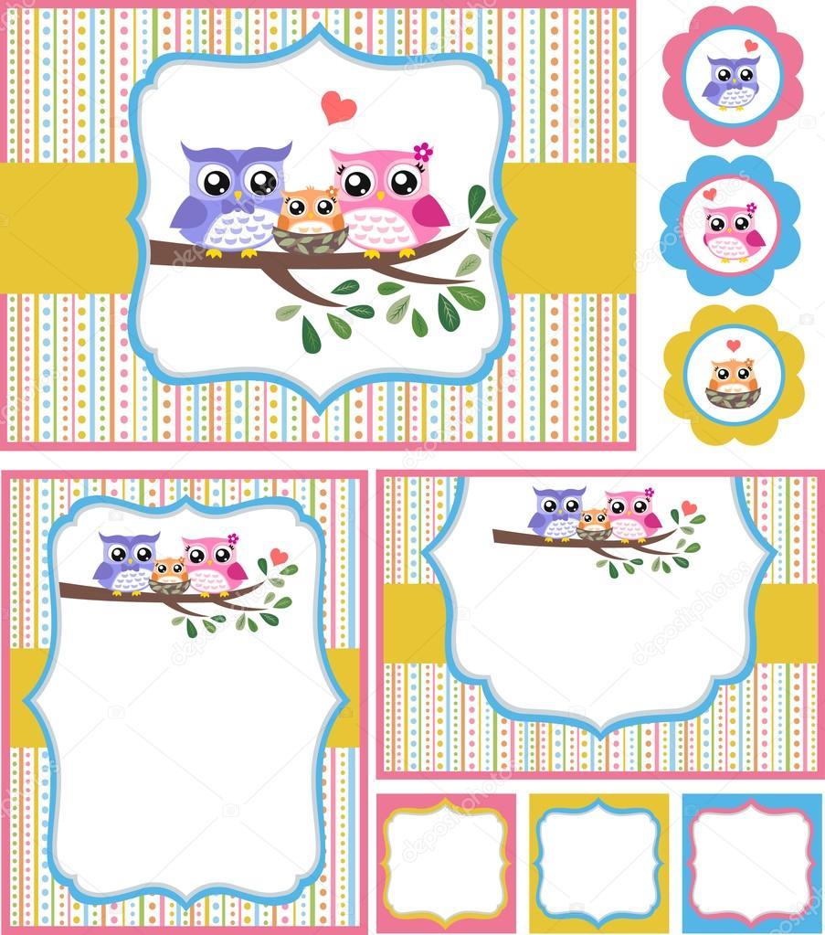 owl baby shower invitation card set  stock vector © pauljune, Baby shower