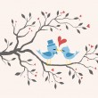 Kissing Birds In Love At Tree. Valentines Design — Векторная иллюстрация