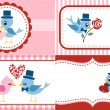 Royalty-Free Stock Vektorfiler: Birds greeting, envelope cover set. Valentine Design.