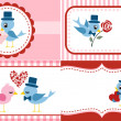 Royalty-Free Stock Imagem Vetorial: Birds greeting, envelope cover set. Valentine Design.
