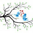 Kissing Birds Sitting On Branch. Summer Greeting. - Stock Vector