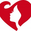 Female Silhouette Red Heart — Stockvektor  #13266041