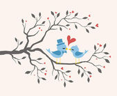 Kissing Birds In Love At Tree. Valentines Design — Stockvector
