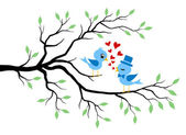 Kissing Birds Sitting On Branch. Summer Greeting. — Vettoriale Stock