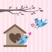 Love Birds At Birdhouse. Valentine Greeting. — Stock Vector