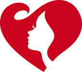 Female Silhouette Red Heart — Stockvector