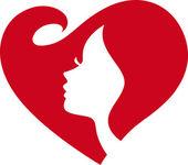Weibliche silhouette rote herzen — Stockvektor