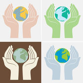 Hands holding earth, save the planet — Stock Vector