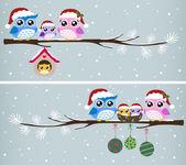 Сова семьи празднование Рождества — Cтоковый вектор