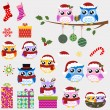 Owl family christmas celebration — Stockvector  #15607765