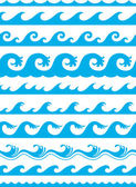 Seamless ocean wave set — Stock Vector