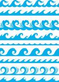 Conjunto de onda transparente océano — Vector de stock
