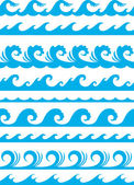 Naadloze oceaan golf set — Stockvector