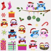 フクロウ家族のクリスマスのお祝い — ストックベクタ