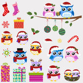 Uil familie kerstviering — Stockvector