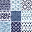 Seamless ocean wave pattern - 图库矢量图片