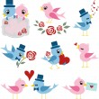 Birds couple design for valentines day — Stock Vector
