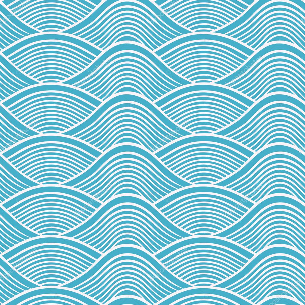 Japanese seamless ocean wave pattern - Stock IllustrationVector Wave Pattern